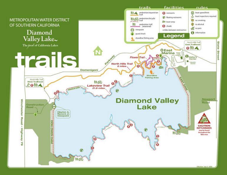 Diamond Valley Lake Trail Map