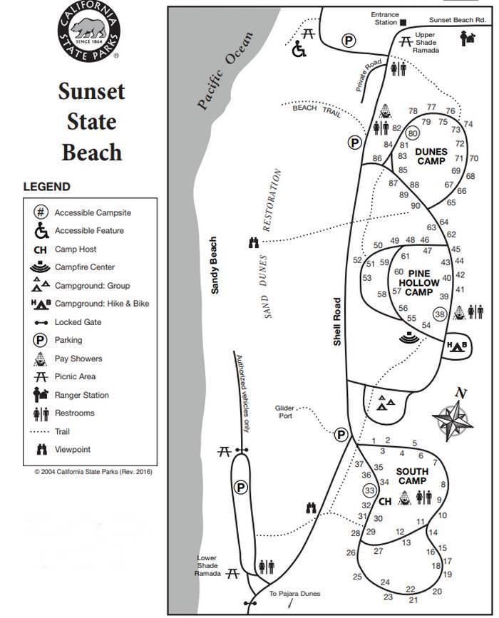 Sunset State Beach Campground Map