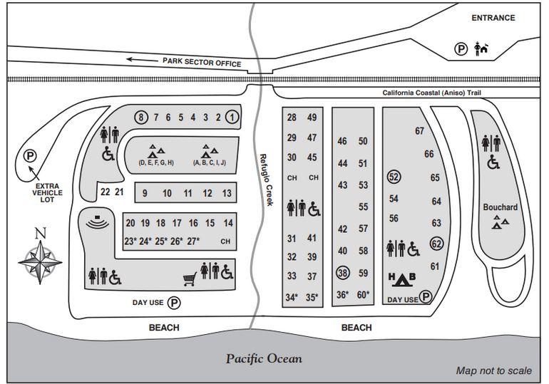 Refugio State Beach Campground Map